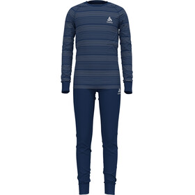 Odlo Active Warm Eco Set Kinderen, estate blue/grey melange/stripes